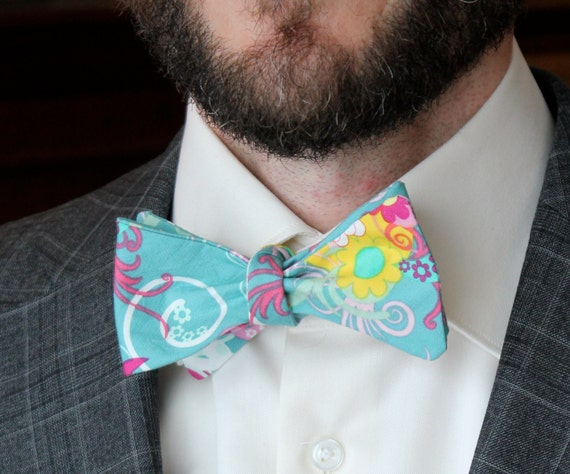 Bow Tie in Teal Floral- Custom fit self tying - freestyle self tying, pre-tied with adjustable strap or self tying