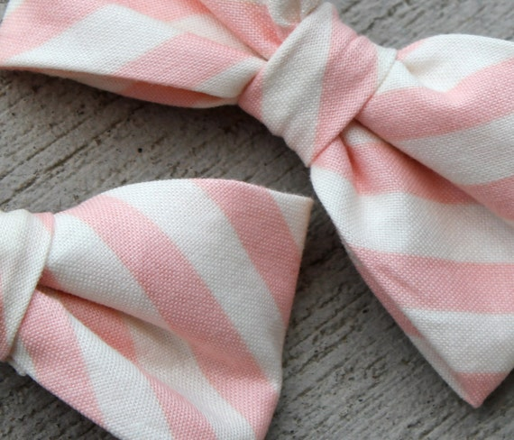 Men's Pink and Cream Stripe Bow Tie - clip on, pre-tied adjustable strap or self tying