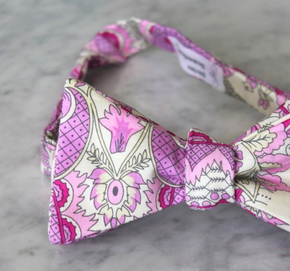 Pink and Purple Berry Paisley Bow Tie - Groomsmen and wedding tie - clip on, pre-tied with strap or self tying