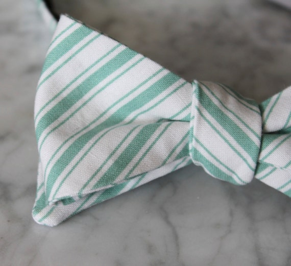 Bow Tie in Mint Classic Stripe - clip on, pre-tied with strap or self tying