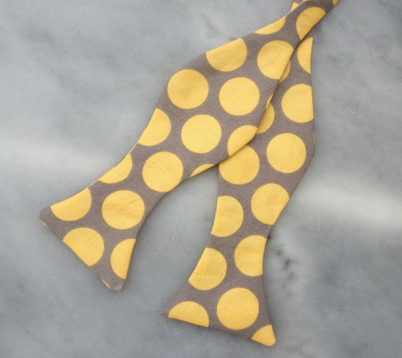 Yellow and Gray Retro Dot Bow Tie for Men or Boys - Clip on, Pre-tied with strap or self tying freestyle - wedding ties, ring bearer outfit