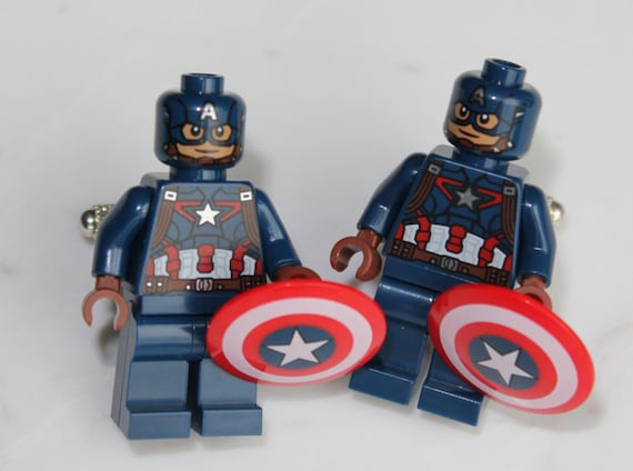 Captain America Cufflinks -  Lego Minifigure - Superhero gift - The First Avenger