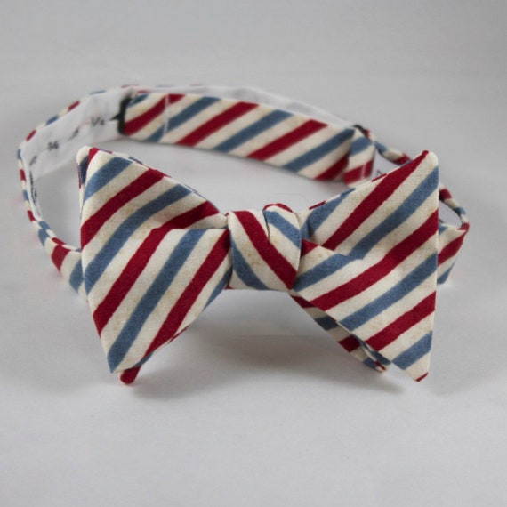 Men's Bow Tie in Red and Blue Stripe - Self tying, pre-tied adjustable strap or clip on - Groomsmen attire