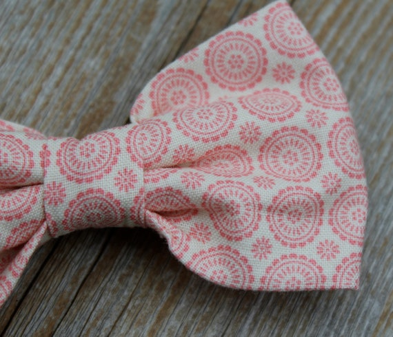 Bow Tie in Pink Medallions - clip on, pre-tied adjustable strap or self tying - wedding attire, ring bearer outfit
