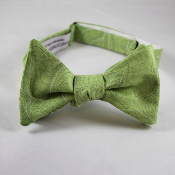 Topographical Map in Green Bow Tie  - Groomsmen and wedding tie - clip on, pre-tied with strap or self tying