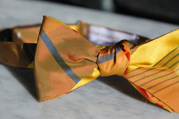 Gold Silk Bow tie with Red and Navy Plaid - Groomsmen and wedding tie - clip on, pre-tied with strap or self tying