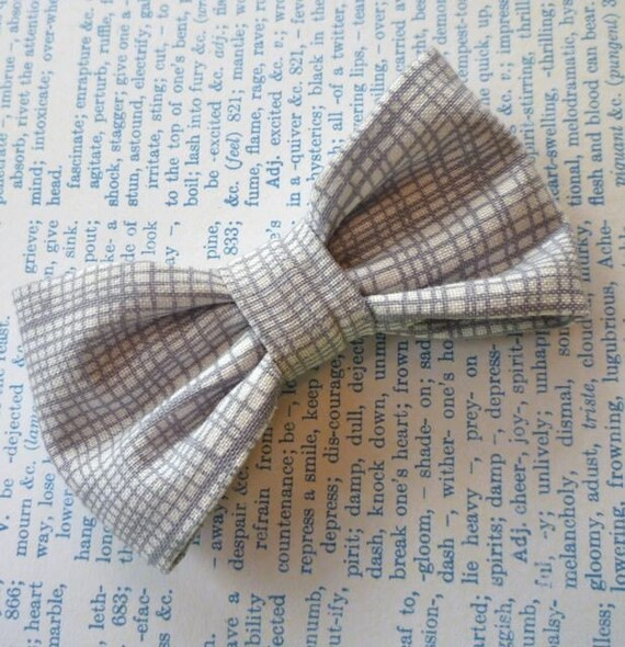 Boy's Silver Gray Plaid Bow Tie and matching suspenders