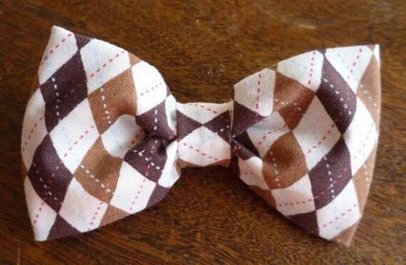 Boy's Brown Argyle Plaid Clip on Bow Tie