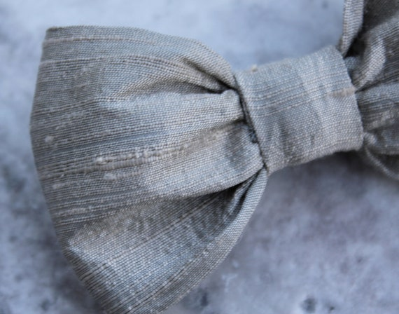 Platnum Gray Dupioni Silk Bow Tie - Clip on, pre-tied with strap or self tying