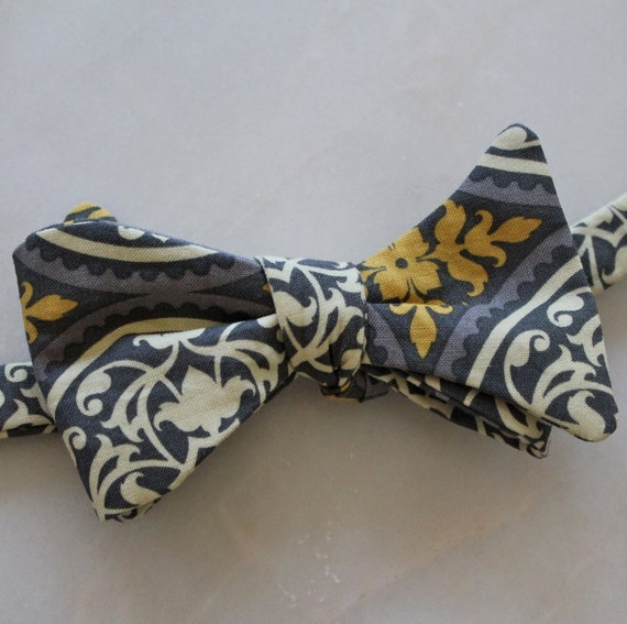Bowtie in Yellow and Gray Ironwork - freestyle self tying, pre-tied with strap or clip on for men or boys - wedding ties, ring bearer outfit