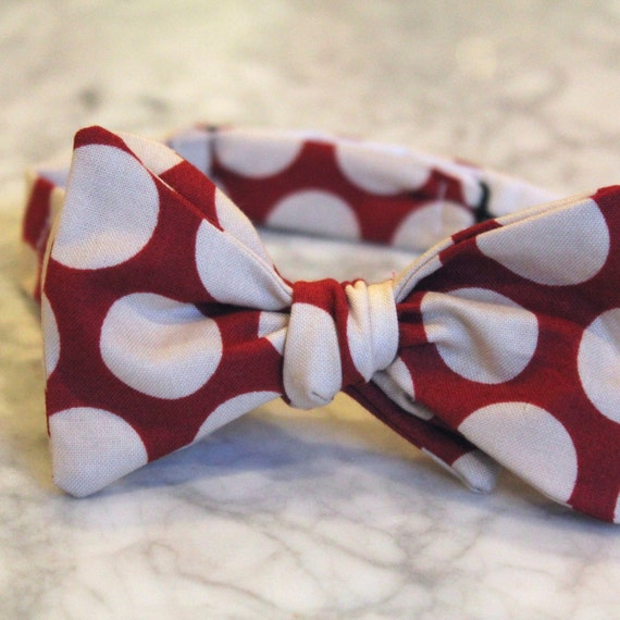 Red and White Retro Dot Bow Tie for Men or Boys- Self tying - freestyle - Groomsmen gift and ring bearer outfit - valentines day gift