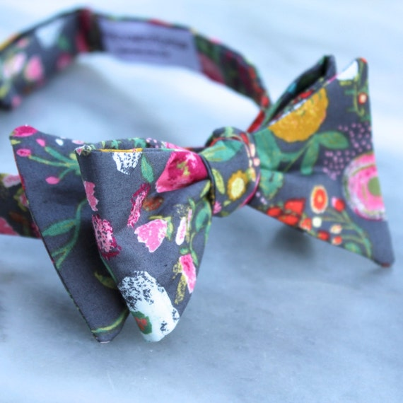 Bow tie in Charcoal Gray and bright garden floral - clip on, pre-tied adjustable strap, or self tying (freestyle)