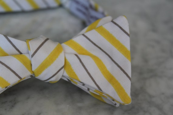 Men's Bow Tie in Yellow and Gray Thin Stripes - Self tying - freestyle - Groomsmen gift