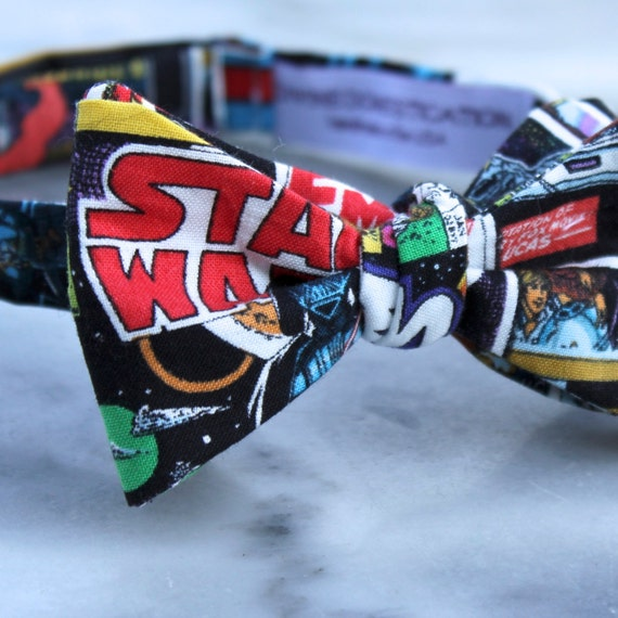 Star Wars Modern Comics Bow Tie  - Groomsmen and wedding tie - clip on, pre-tied with strap or self tying