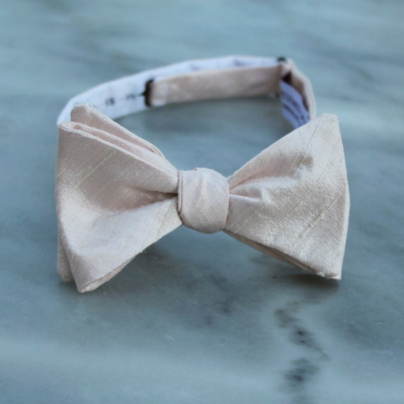 Bow Tie in Shell Peach Silk - self tying, pre-tied adjustable or clip on - for men or boys