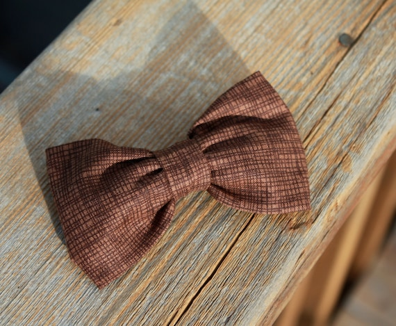 Crosshatch in Brown Bow tie - clip on, pre-tied with strap or self tying