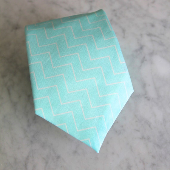 Necktie in Aqua Chevron -wedding groomemen gifts