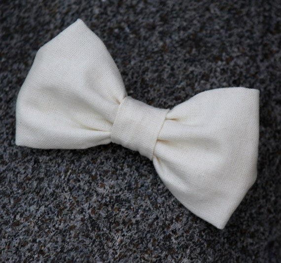 Cream Linen Bow Tie for Boys or men- clip on, pre-tied with strap, or self tying - freestyle - wedding ties, ring bearer outfit