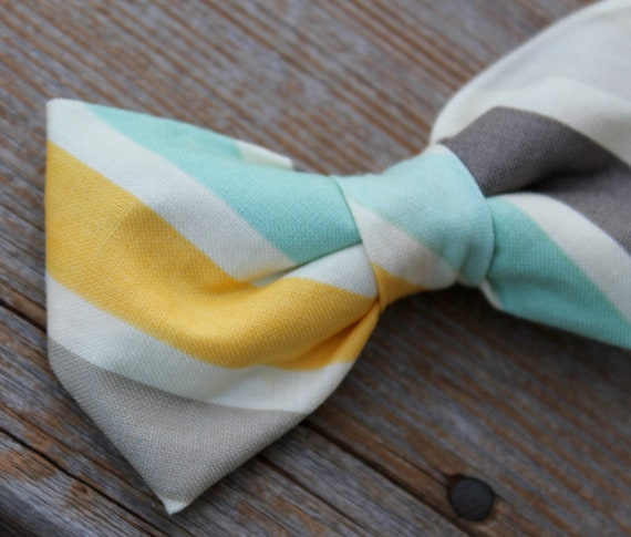 Bow Tie for Men in Yellow, Turquoise and Gray Stripe - Clip on, adustable strap, or self tying