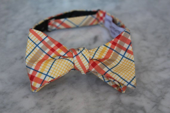Men's Bow Tie in Orange, Yellow and Blue Plaid - Self tying, pre-tied adjustable strap or clip on - Groomsmen attire