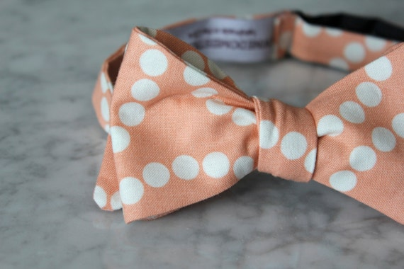Bow Tie in Peach Scatter Dots - clip on, pre-tied with strap or self tying - wedding ties or ring bearer outfit
