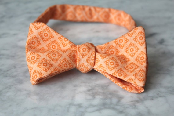Bow tie in orange tiles - Groomsmen and wedding tie - clip on, pre-tied with strap or self tying