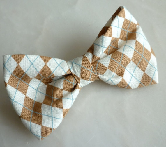 Tan Brown Argyle Plaid Bow tie - clip on, pretied with strap or self tying - self tie freestyle - wedding ties ring bearer outfit
