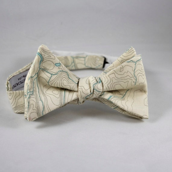 Topographical Map in Parchment Bow Tie  - Groomsmen and wedding tie - clip on, pre-tied with strap or self tying