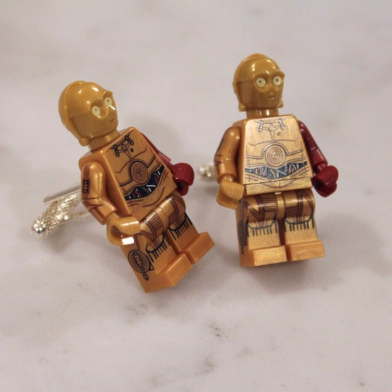 Lego Star Wars Cuff Links - C3PO Red Arm - The Force Awakens Lego Minifigure C3PO