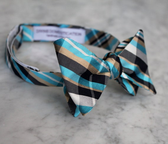Turquoise Black and Gold Plaid Silk Bow Tie - Clip on, pre-tied with strap or self tying