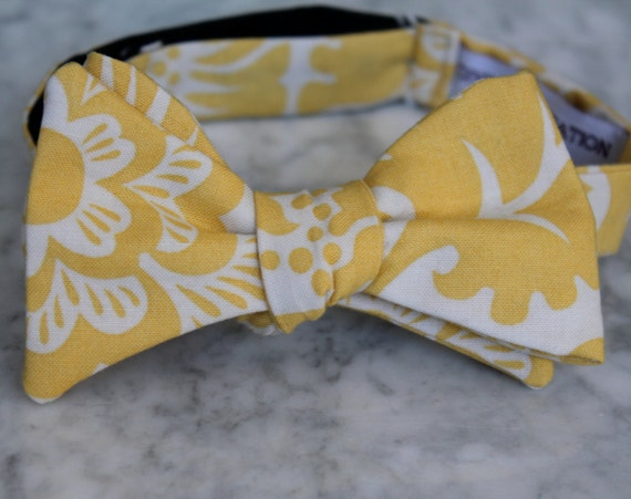 Men's Bow Tie in Yellow Block Print- Self tying - freestyle - Groomsmen gift and ring bearer outfit