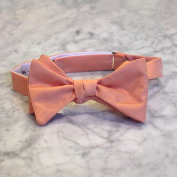 Solid Peach Bow Tie- Groomsmen and wedding tie - clip on, pre-tied with strap or self tying