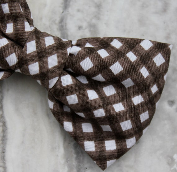 Organic Chocolate Brown Plaid Bow tie - clip on, pre-tied with strap or self tying