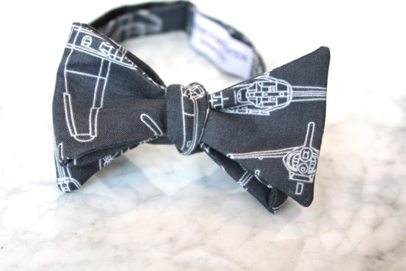 Helicopter and Fighter Jet Bueprint Bow Tie - Groomsmen and wedding tie - clip on, pre-tied with strap or self tying