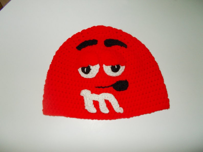 crochet hat red character adult beanie hat costume hat winter hat