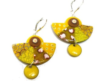 Yellow dangle Earrings in polymer clay artisan made Earrings Mustard Lemon, Provence style, Gift for woman