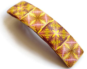 Polymer Hair barrette French clip handmade in France, Ready to ship gift for woman