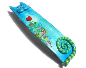 Cute Cat Barrette for Thin Hair Blue Small French clip handmade in polymer clay. Gift for cat lover
