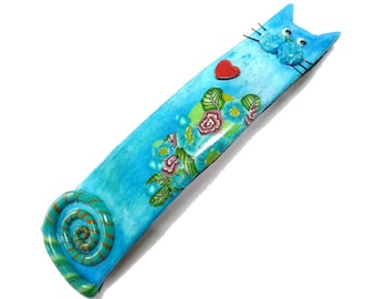Blue Cat Hair Barrette handmade hair clip in Polymer French for Long Hair, for middle thick hair