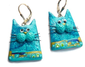 Blue Cat earrings in polymer clay Gift for woman for cat lover Gift for Mom