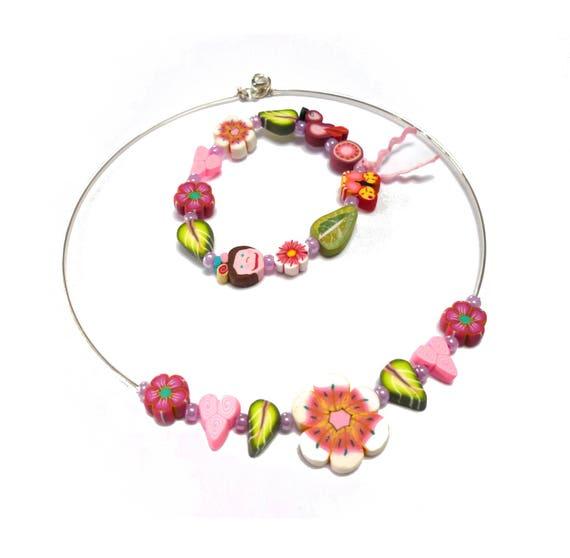 Girls Jewelry Gift Set Pink Flowers Hearts Leaves Bracelet Etsy