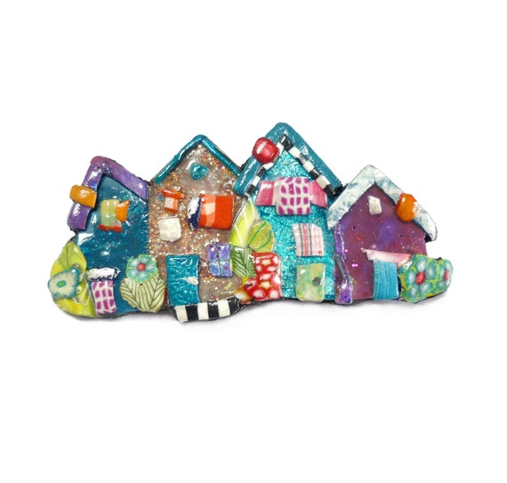 Polymer Clay Christmas Village.Small Village Brooch Little Houses Pin In Polymer Clay Housewarming Gift Moving House Gift Moving Away Gift Sweet Home Mothers Day Gift