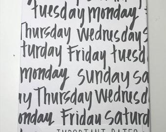 Days of the Week Birthday/Anniversary Reminder Book