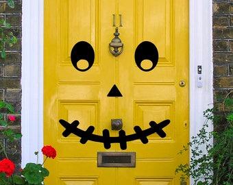 Pumpkin Face Vinyl Art Decal - Halloween Vinyl Art Decal, Pumpkin Face Door Vinyl Art Decal, Halloween Door Decor, Halloween, 24x24