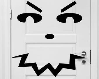 Pumpkin Face Vinyl Art Decal - Halloween Vinyl Art Decal, Pumpkin Face Door Vinyl Art Decal, Halloween Door Decor, Halloween, 30x30