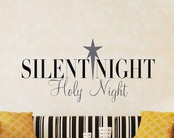 Silent Night Star Vinyl Art Decal - Christmas Vinyl Art Decal, Silent Night Vinyl Art Decal, Christmas Home Wall Decor, Christmas, 25x12