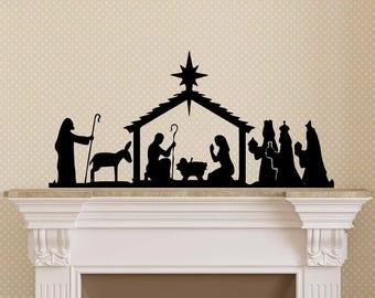 Christmas Nativity Vinyl Art Decal - Christmas Vinyl Decal, Christmas Nativity Vinyl Art Decal, Christian Christmas Decor, Christmas, 7x14.5