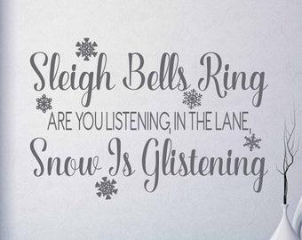 Sleigh Bells Ring Snowflake Vinyl Art Decal - Christmas Vinyl Art Decal, Sleigh Bells Vinyl Art Decal, Christmas Decor, Christmas, 22x15