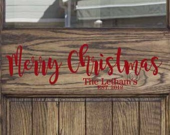 Custom Merry Christmas Vinyl Decal-Christms Vinyl Decal, Custom Family Name Christmas Vinyl Decal, Christmas Home Decor, Christmas,17.5x5.2