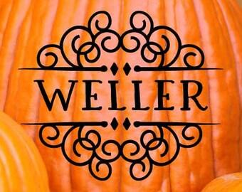 Custom Halloween Vinyl Art Decal - Halloween Vinyl Art Decal, Custom Last Name Swirls Vinyl Art Decal, Halloween Decor, Halloween, 8x8.6